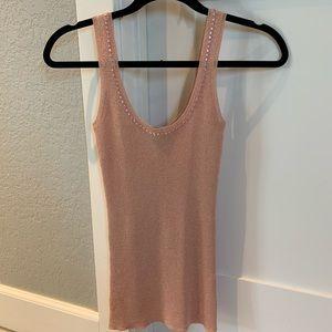 Bebe pink shimmer lightweight sweater tank S